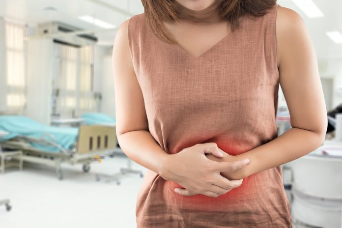 The woman has stomachache and go to hospital urgent . People with diarrhea problem concept Antidepressants and Psychotherapy May Ease IBS Symptoms